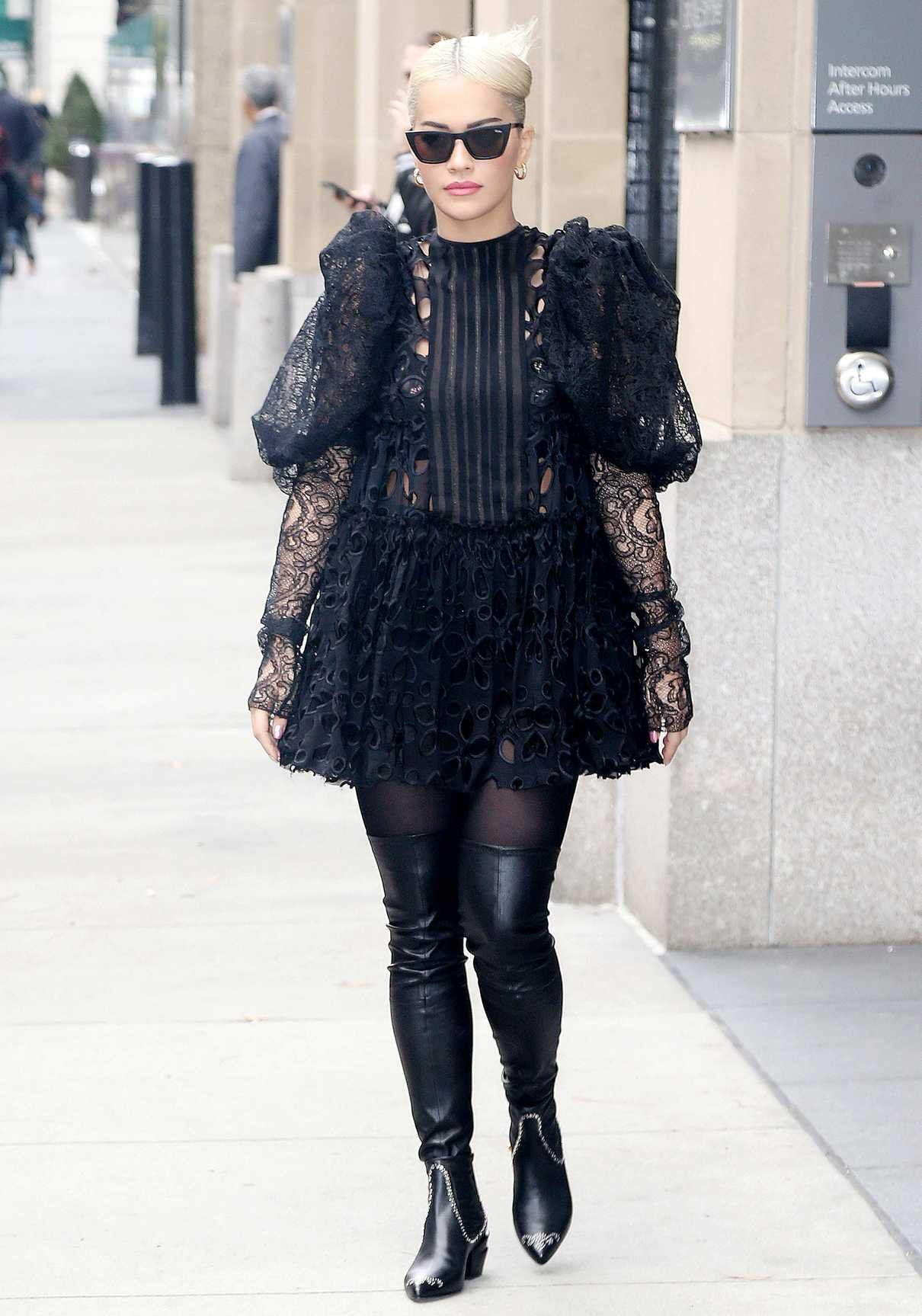 Rita Ora in a Black Embroidered Dress