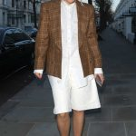 Rita Ora in a Brown Plaid Blazer