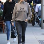 Selena Gomez in a Beige Turtleneck