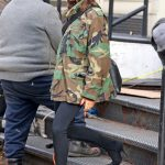 Victoria Beckham in a Camo Jacket