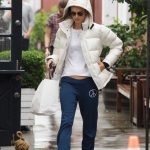 Alessandra Ambrosio in a White Puffer Jacket