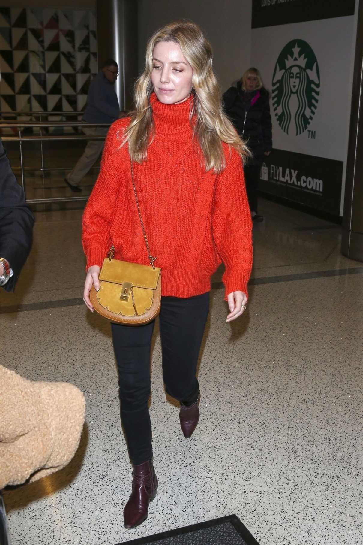 Annabelle Wallis in a Red Sweater