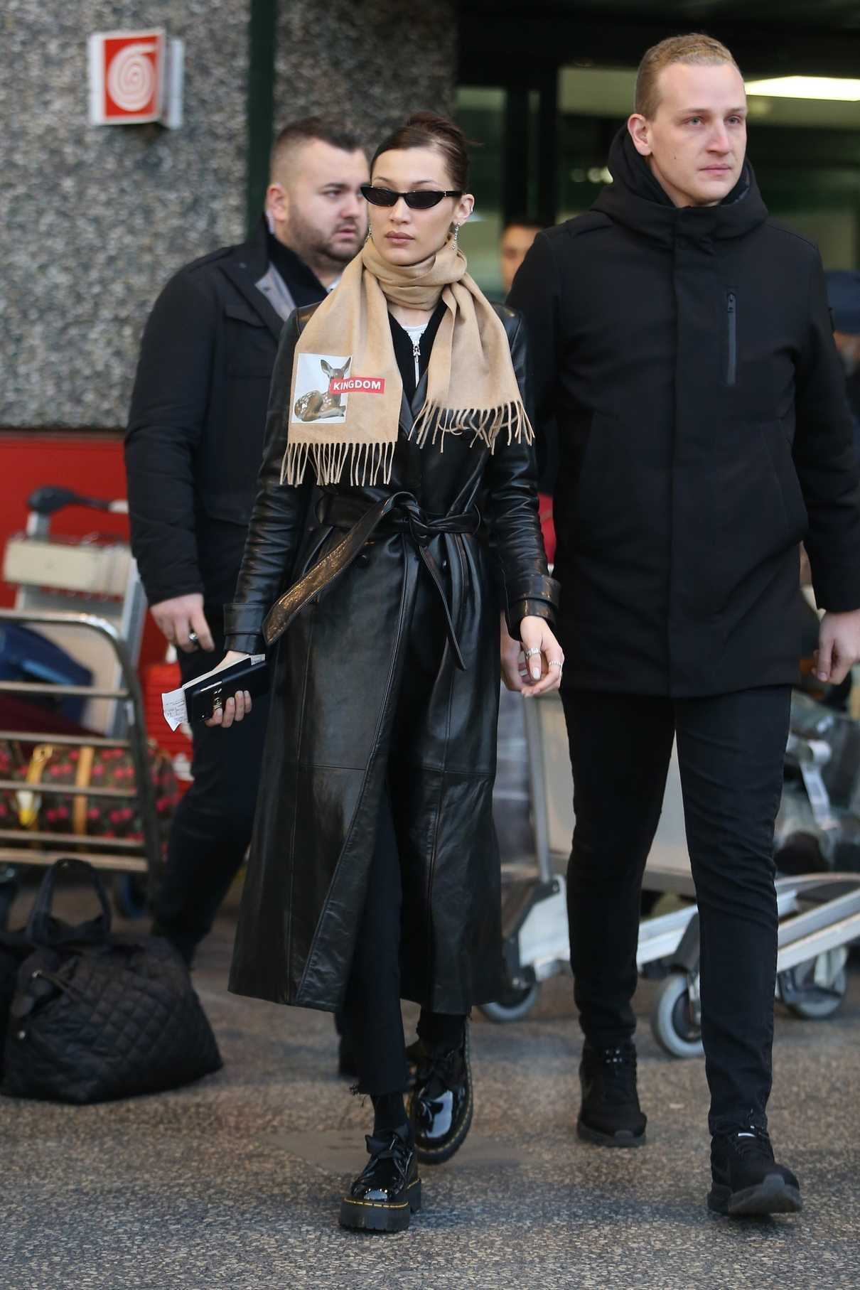 Bella Hadid in a Black Leather Trench Coat