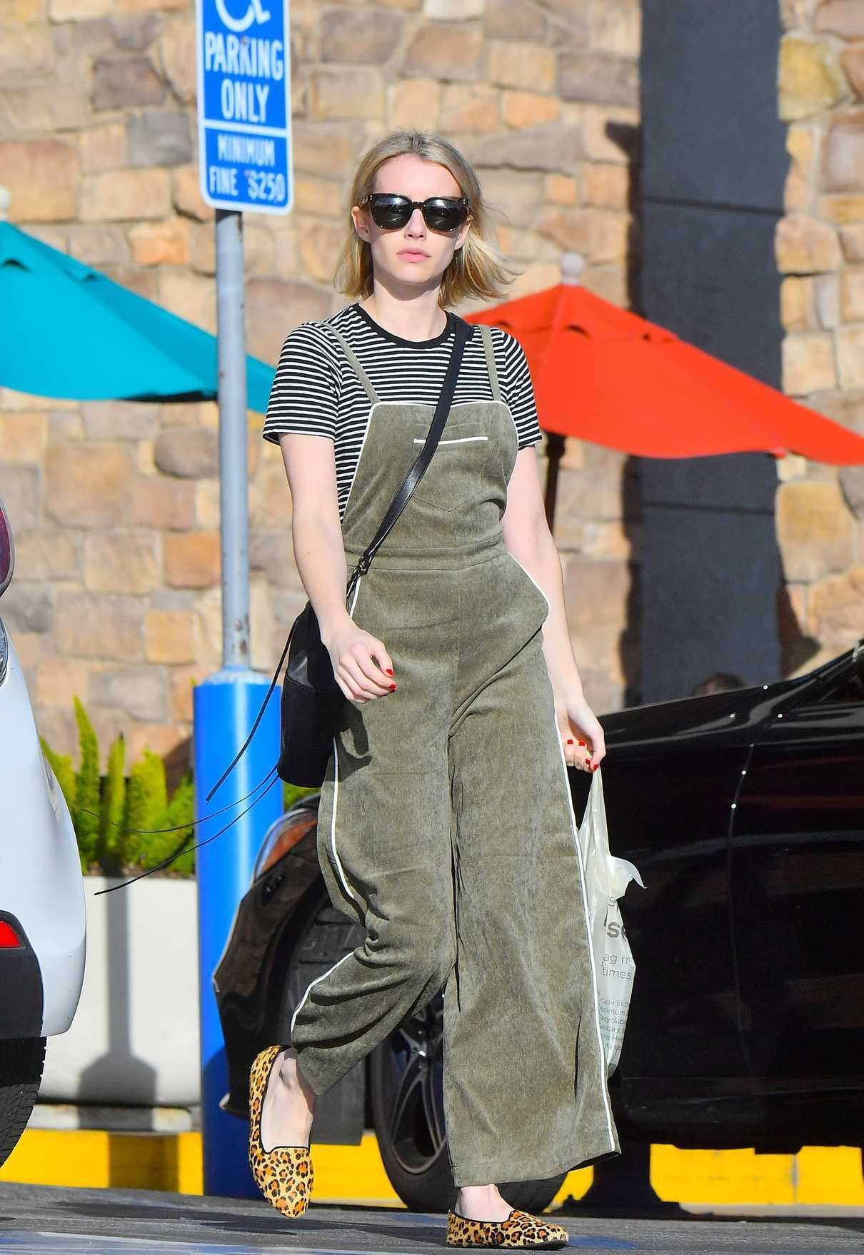 Emma Roberts in a Striped T-Shirt