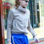 Gigi Hadid in a Blue Track Pants