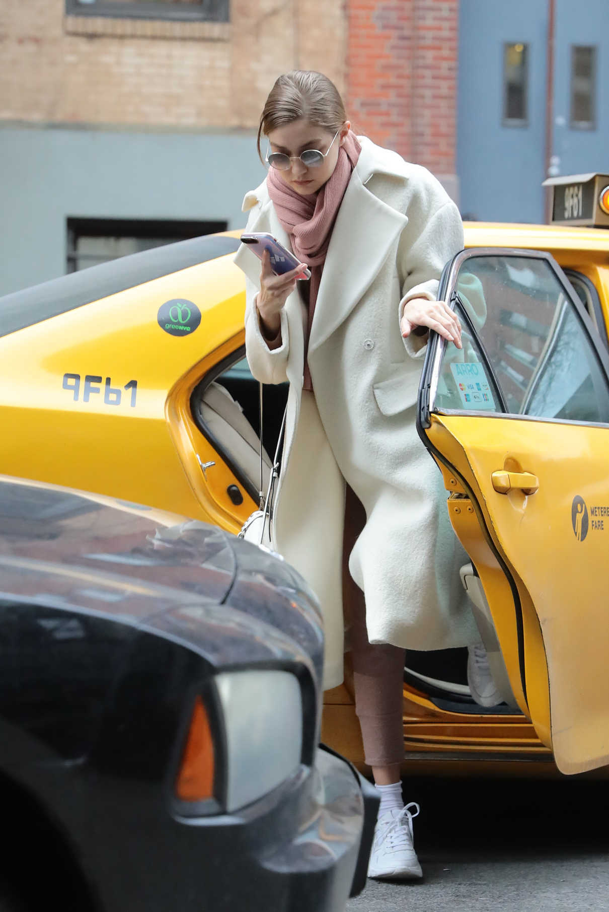 Gigi Hadid in a White Coat