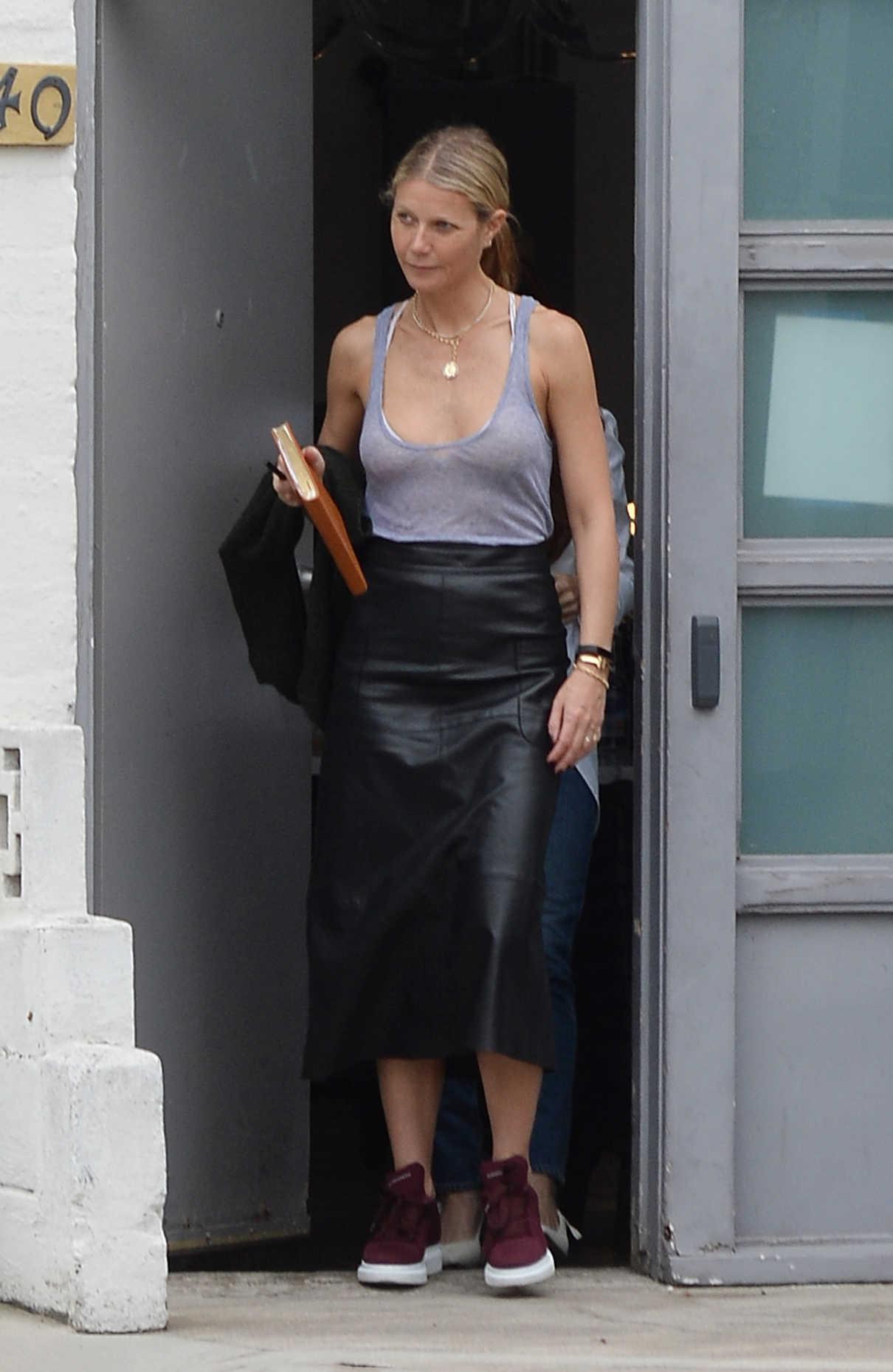 Gwyneth Paltrow in a Gray Tank Top