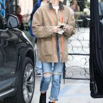 Hailey Baldwin in a Beige Jacket