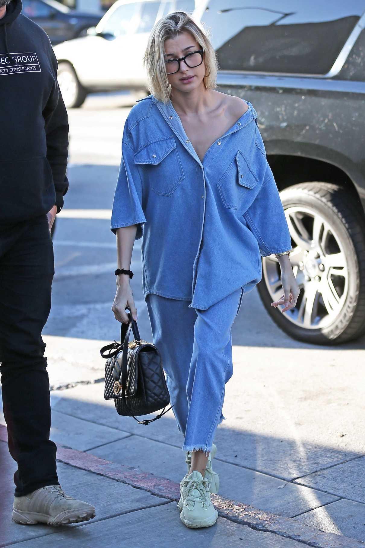 Hailey Baldwin in a Blue Denim Shirt
