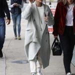 Hailey Baldwin in a Gray Coat