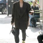 Hailey Baldwin in a Plaid Coat