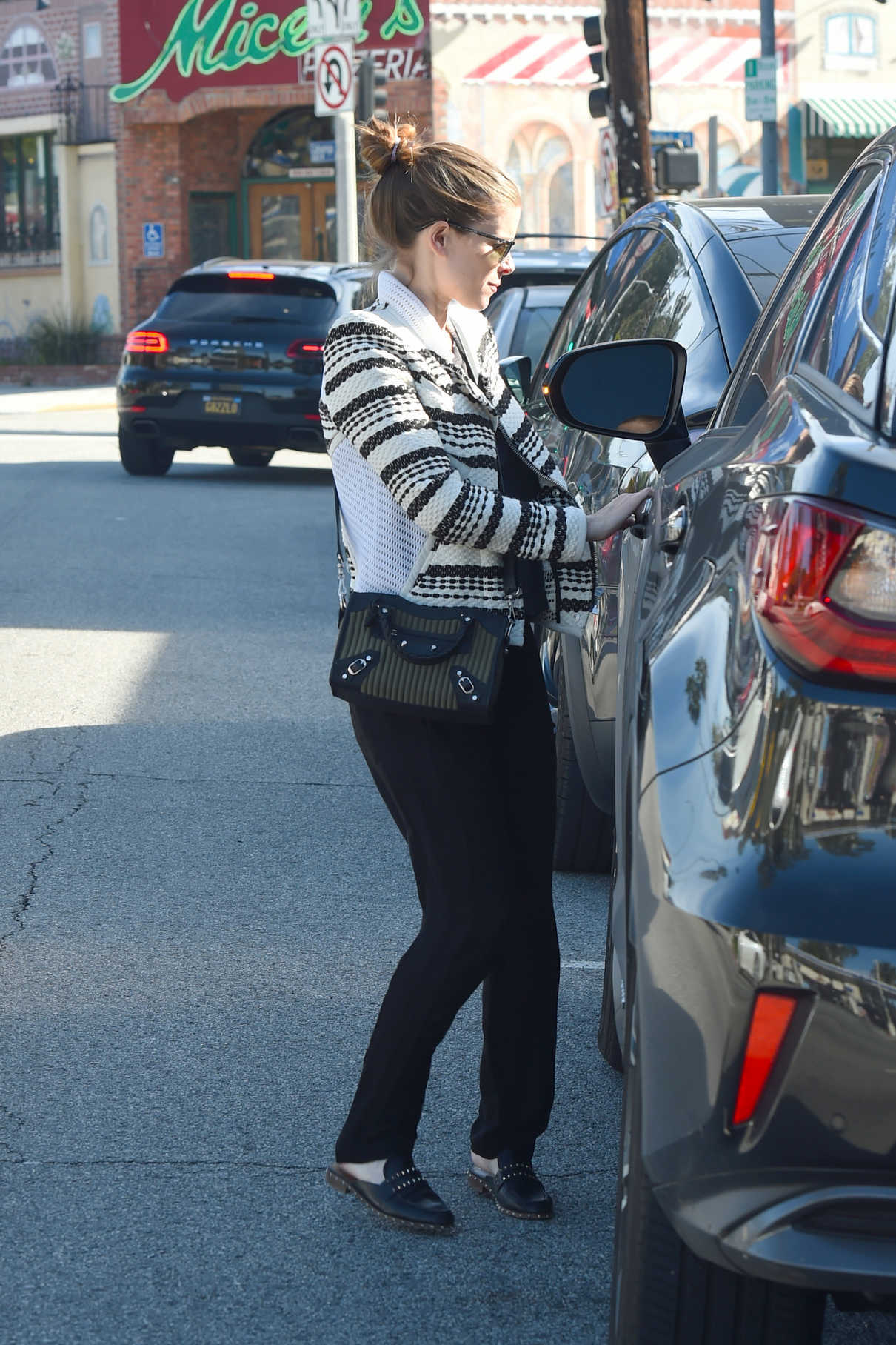 Kate Mara in a Striped Sweater