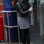 Kelly Brook in Gray Plaid Skirt