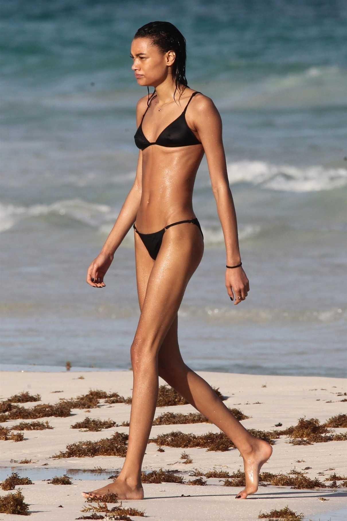 Lameka Fox in a Black Bikini