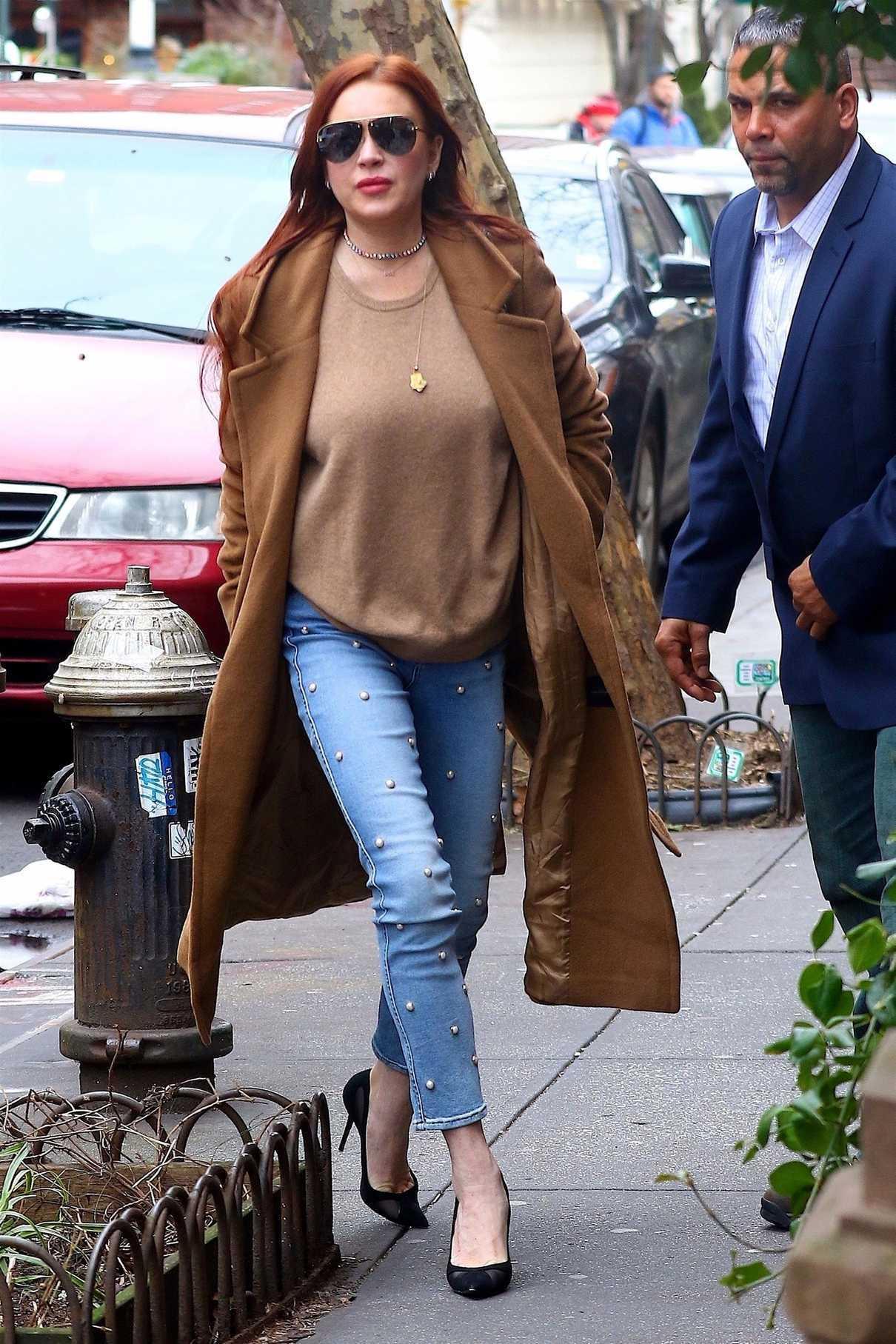 Lindsay Lohan in a Beige Coat