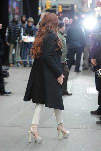 Lindsay Lohan in a Black Coat