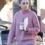 Mila Kunis in a Pink Sweater