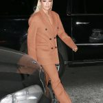 Rita Ora in a Beige Suit