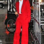 Victoria Beckham in a Red Suit Was Seen Out in New York City 01/24/2019
