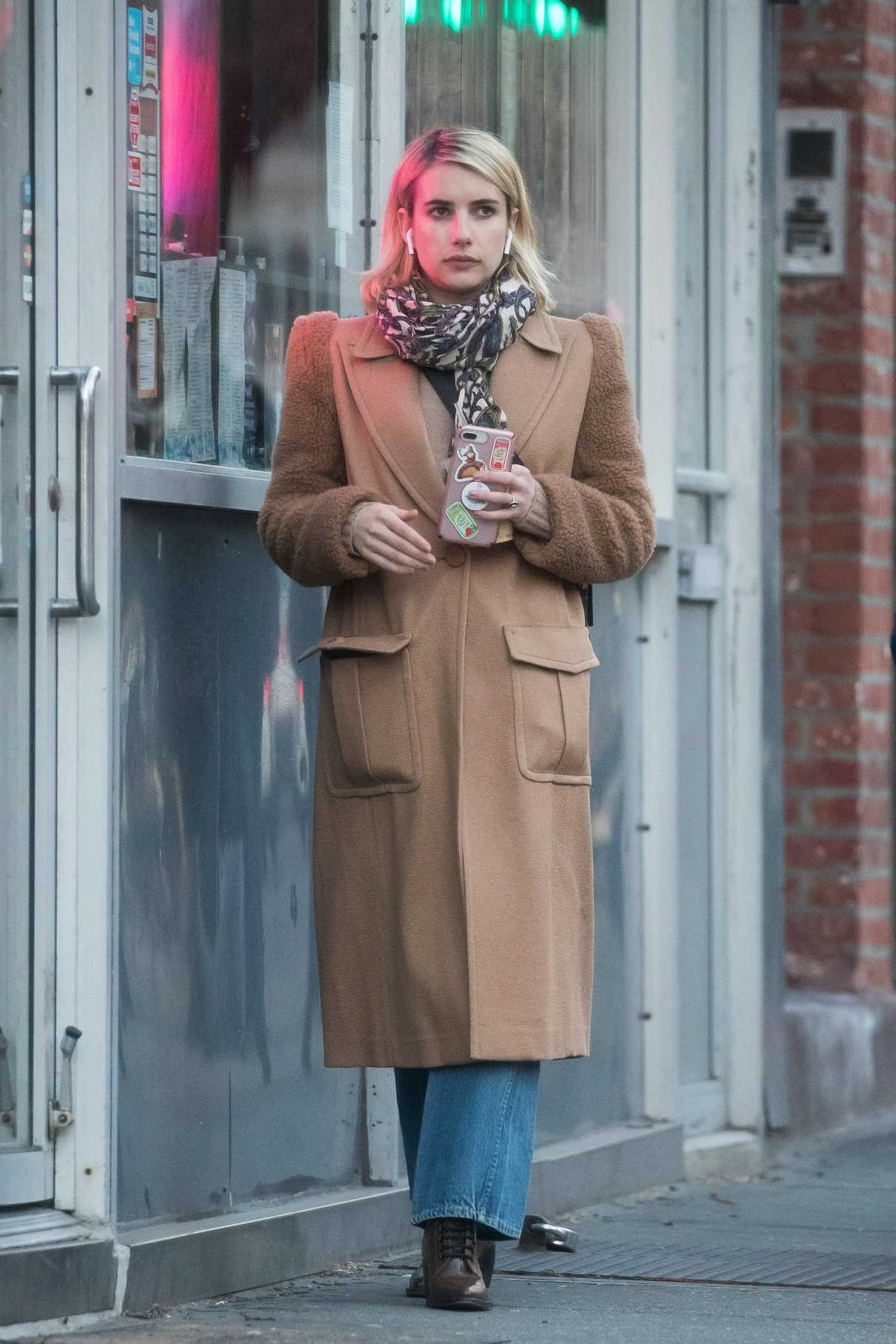 Emma Roberts in a Beige Coat