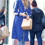 Gigi Hadid in a Blue Trench Coat