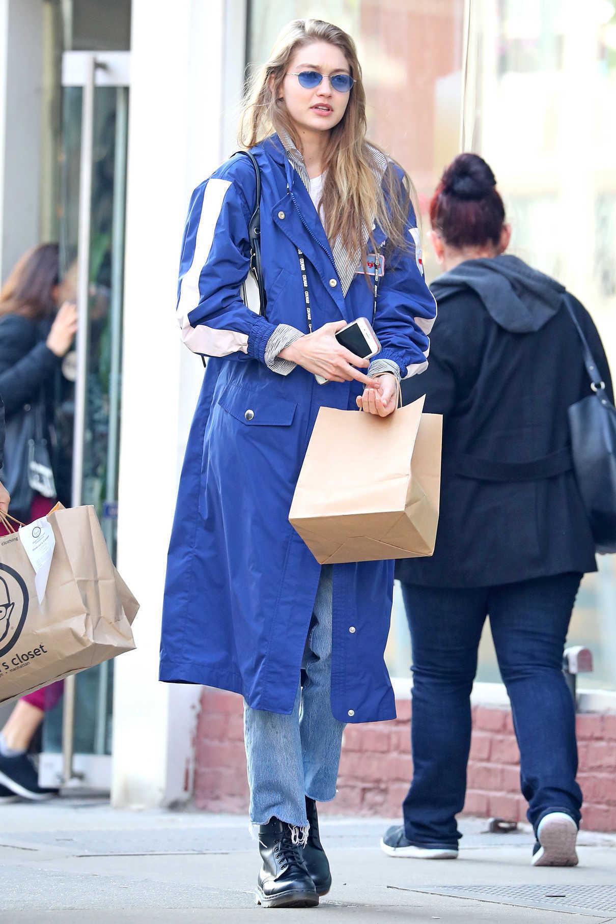 Gigi Hadid in a Blue Trench Coat