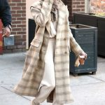 Hailey Baldwin in a Beige Plaid Coat