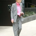Hailey Baldwin in a Gray Suit
