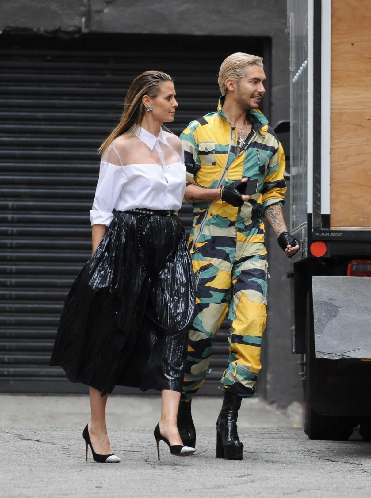 Heidi Klum Wearing Roberto Cavalli Dress Germanys Next