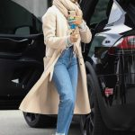 Jessica Alba in a Beige Coat
