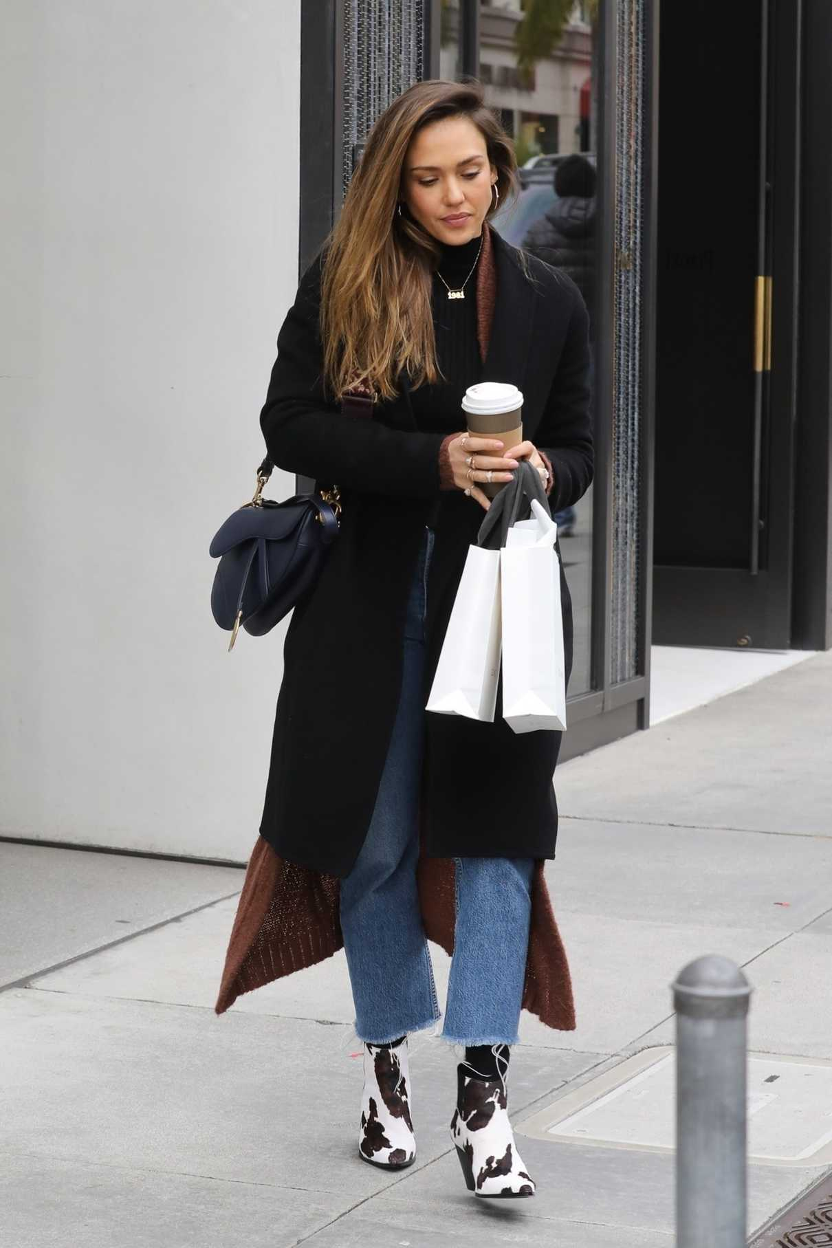 Jessica Alba in a Black Coat