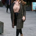 Kelly Brook in a Plaid Coat