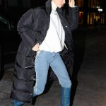 Kendall Jenner in a Black Puffer Coat