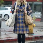Kristen Bell in a Plaid Coat
