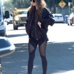 Lily Collins in a Black Bomber Jacket