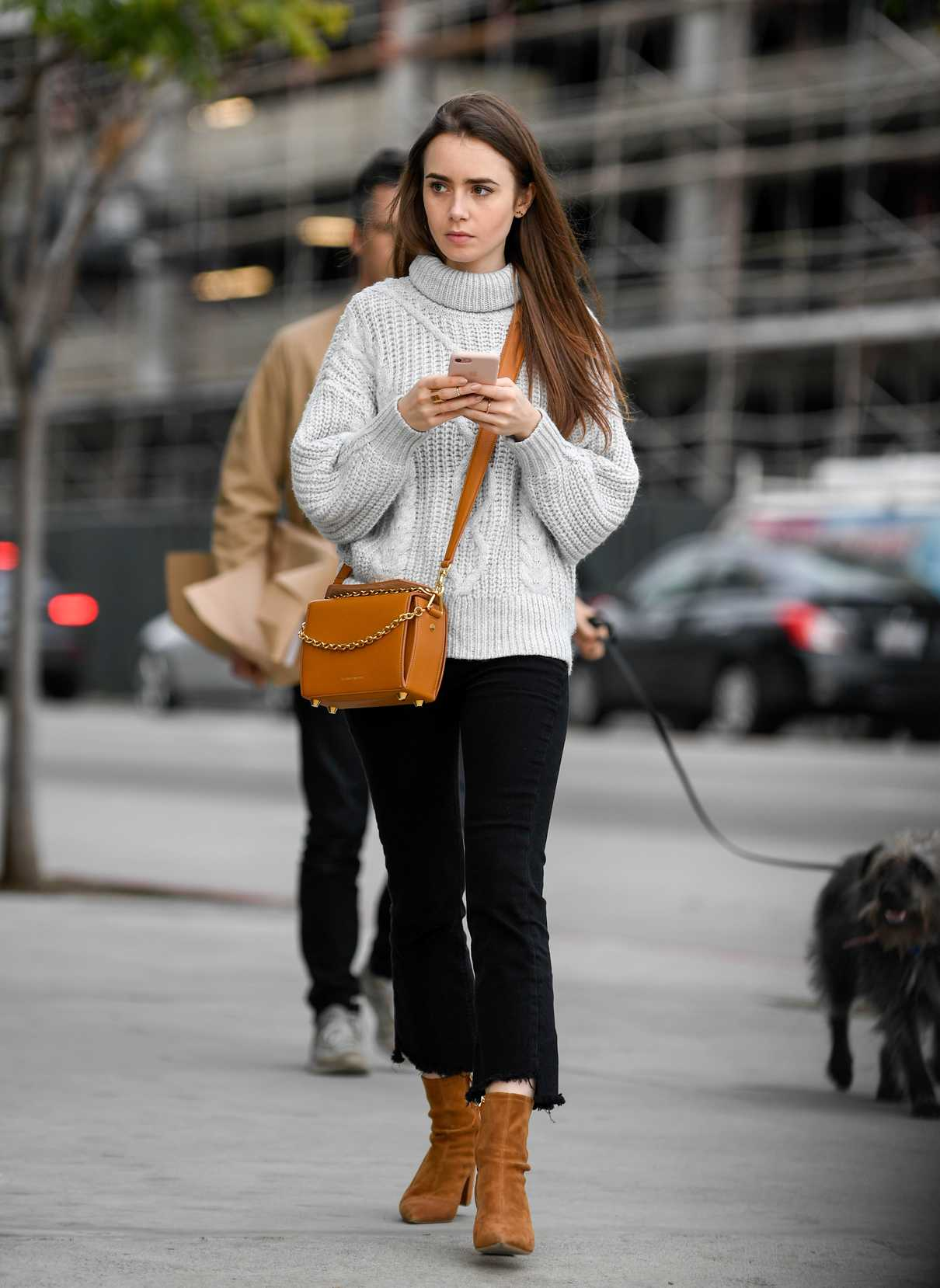 Lily Collins in a Gray Sweater