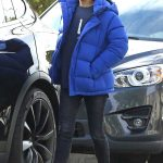 Mila Kunis in a Blue Puffer Jacket