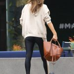 Alessandra Ambrosio in a Beige Hoody