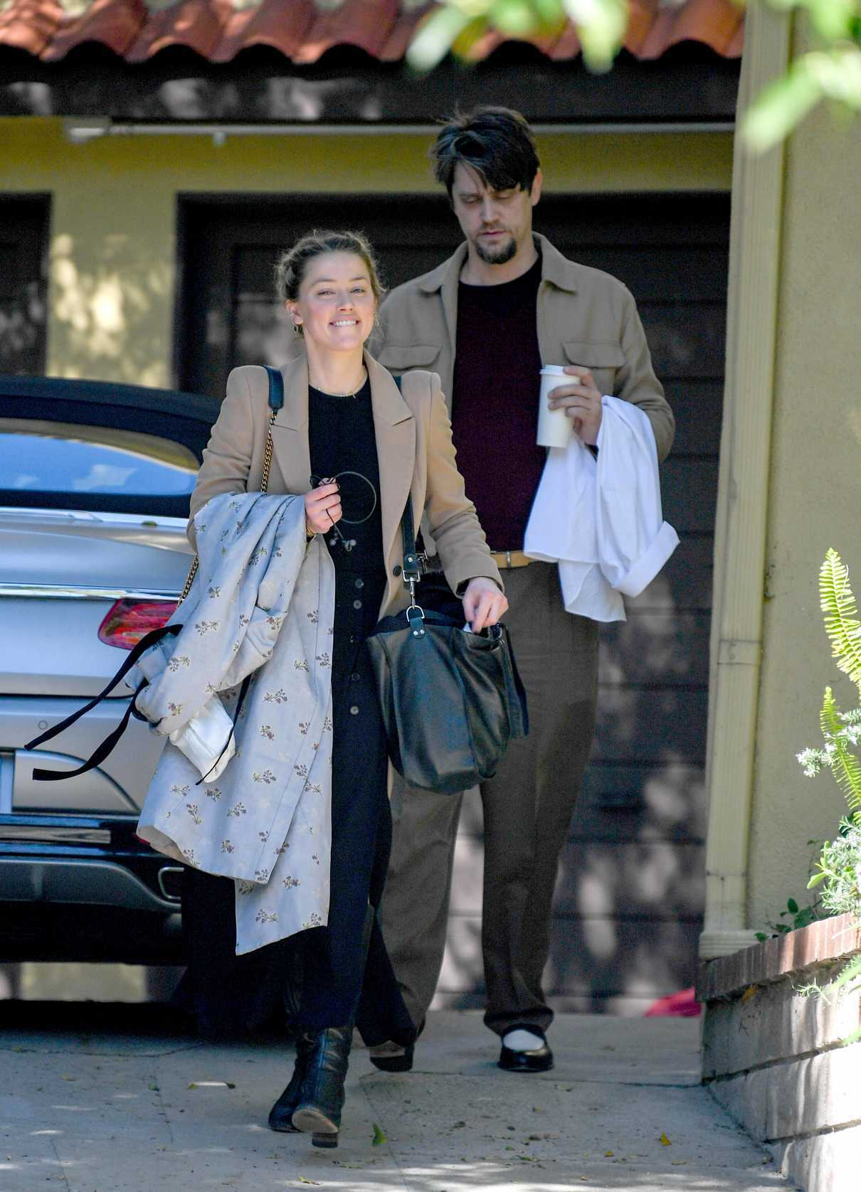Amber Heard in a Beige Coat