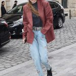 Gigi Hadid in a Red Striped Blazer