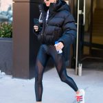 Hailey Baldwin in a Black Puffer Jacket