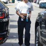 Hailey Baldwin in a Wite Cropped T-Shirt