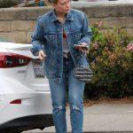 Hilary Duff in a Blue Denim Suit