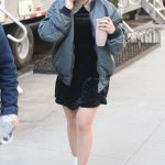 Hilary Duff in a Gray Bomber Jacket