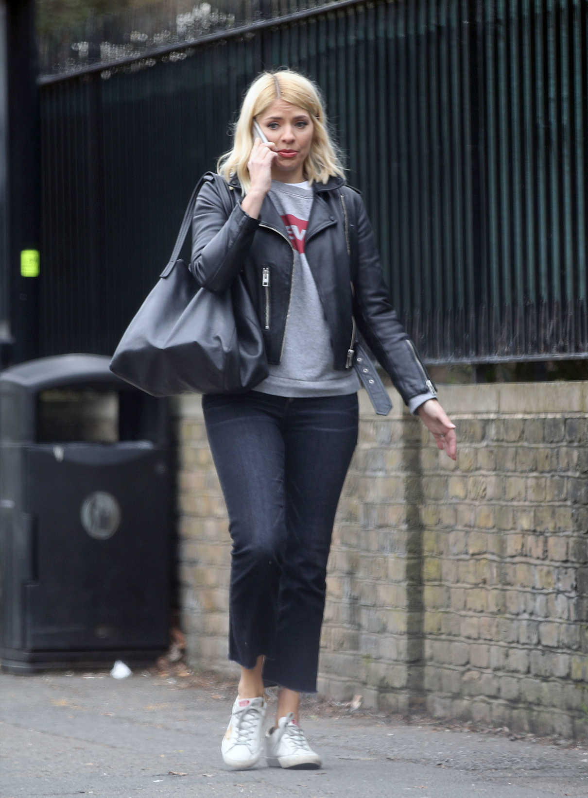 Holly Willoughby in a Black Leather Jacket