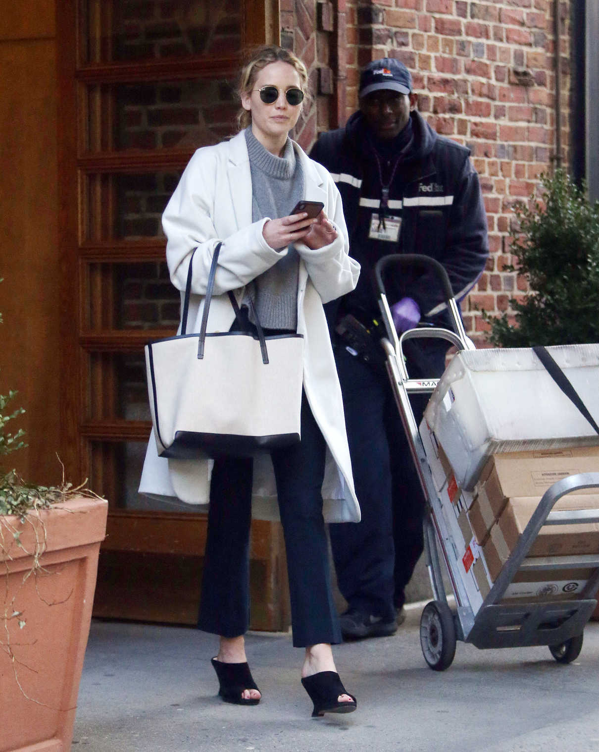Jennifer Lawrence in a White Coat