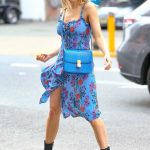 Joy Corrigan in a Blue Floral Sundress Does a Photo Shoot in SoHo, NYC 03/26/2019
