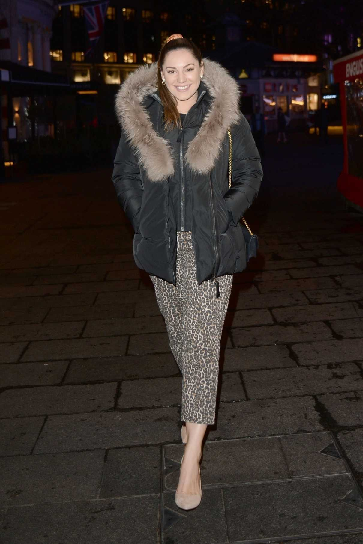 Kelly Brook in a Leopard Print Pants