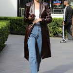 Kendall Jenner in a Brown Leather Trench Coat