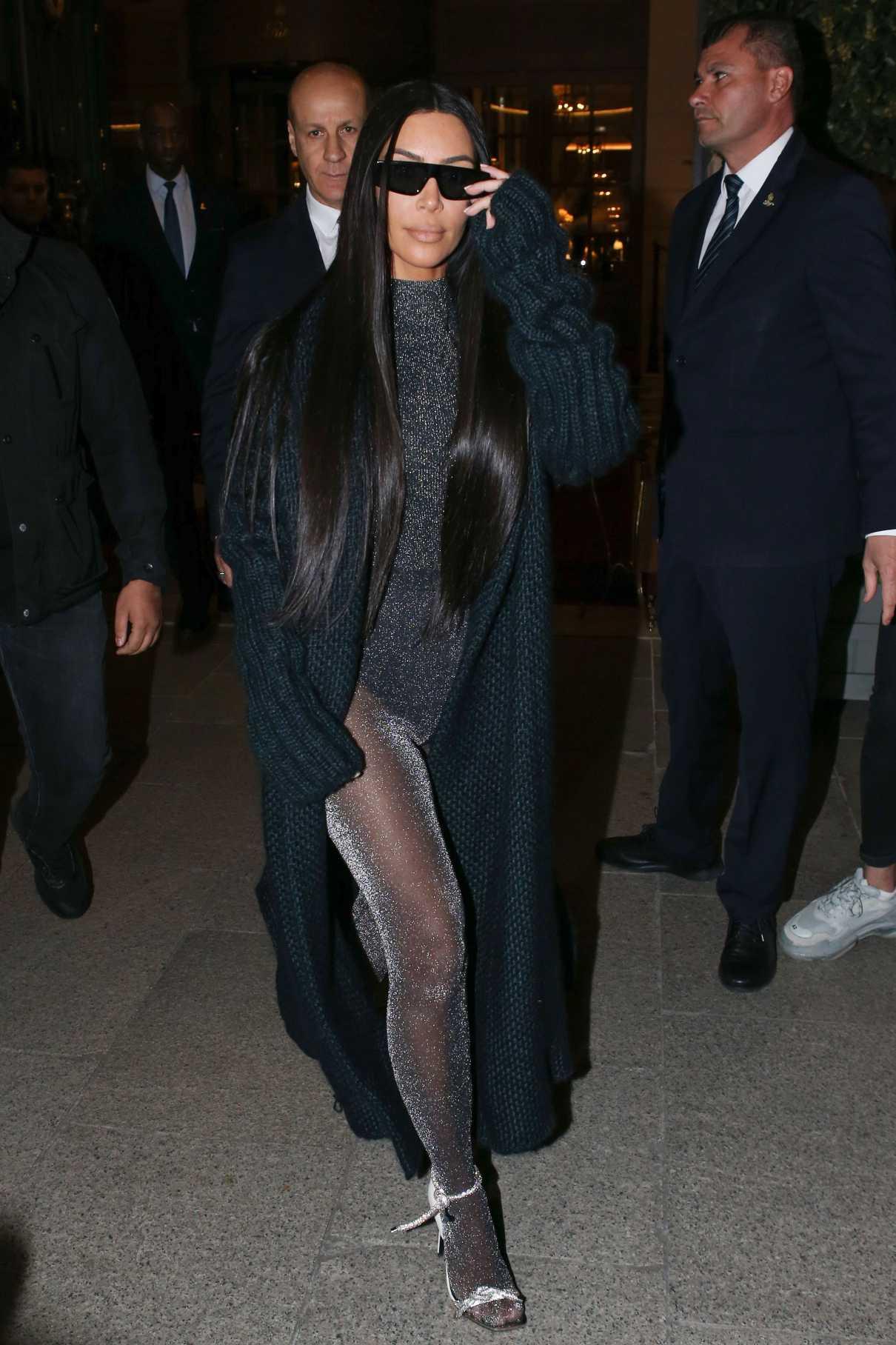 Kim Kardashian in a Blue Cardigan